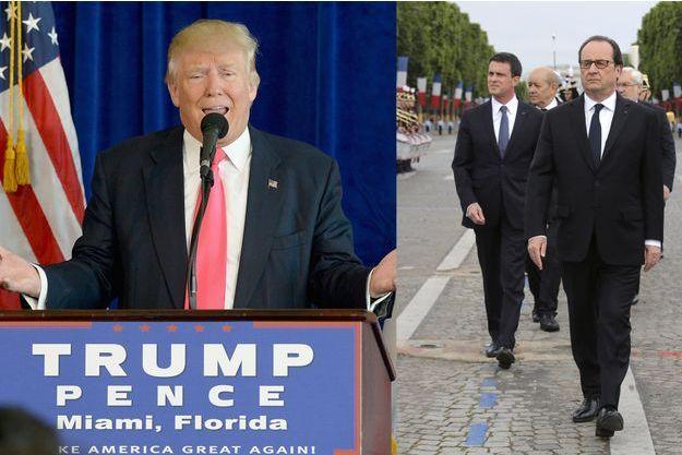 Donald Trump, mercredi; François Hollande et Manuel Valls, le 14 juillet.