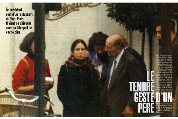 Mazarine Pingeot et François Mitterrand dans les pages de Paris Match, en 1994.