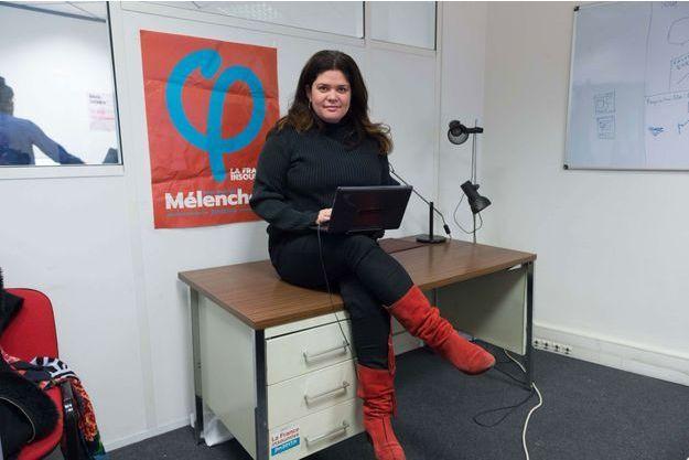 Raquel Garrido durant la campagne présidentielle, en janvier dernier, au QG du candidat Mélenchon.
