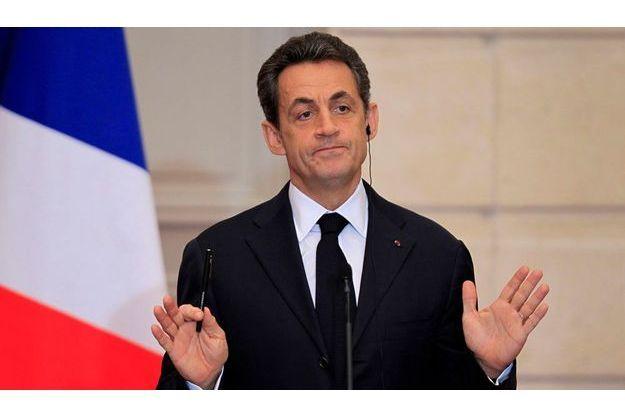 Nicolas Sarkozy lors d'une conférence de presse à l'Elysée, lundi 5 décembre.