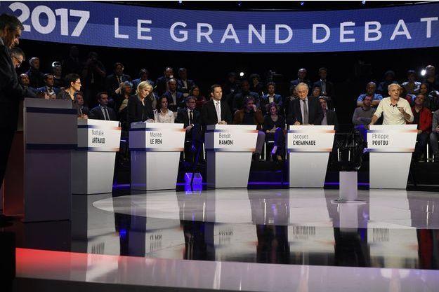 Débat entre les candidats au premier tour de la présidentielle le 4 avril 2017.
