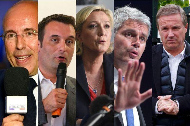 De gauche à droite : Eric Ciotti, Florian Philippot, Marine Le Pen, Laurent Wauquiez et Nicolas Dupont-Aignan