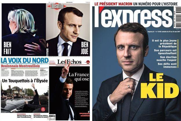 Montage des unes de Libération, La Voix du Nord, Les Echos et L'Express au lendemain de l'élection d'Emmanuel Macron