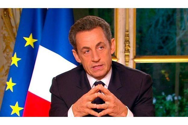 """Nicolas Sarkozy lors de l'émission """"Face à la crise"""" jeudi soir."""