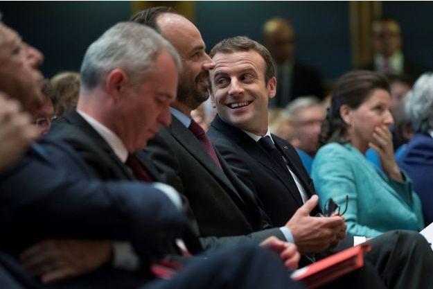 Edouard Philippe et Emmanuel Macron au Sénat pendant la Conférence nationale des territoires le 17 juillet.
