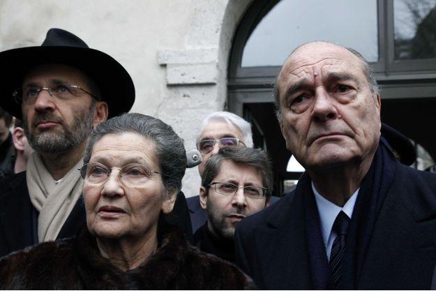 Simone Veil aux côtés de Jacques Chirac le 27 janvier 2011.