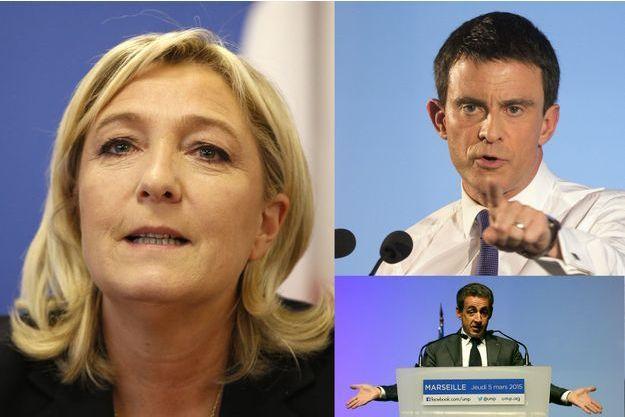 Marine Le Pen, Manuel Valls et Nicolas Sarkozy.