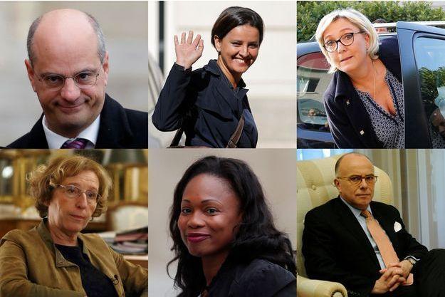 De gauche à droite et haut en bas : Jean-Michel Blanquer, Najat Vallaud-Belkacem, Marine Le Pen, Muriel Pénicaud, Laura Flessel et Bernard Cazeneuve.