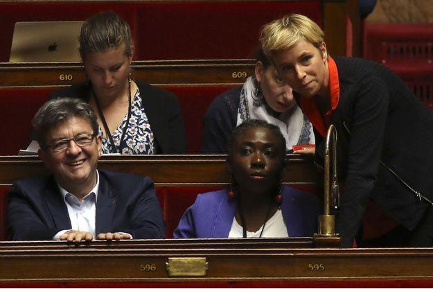 Au premier rang : Jean-Luc Mélenchon, Danièle Obono et Clémentine Autain à l'Assemblée nationale le 9 août.