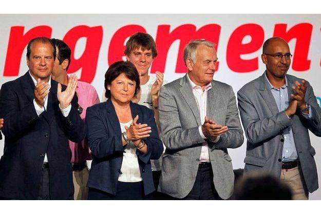 De gauche à droite, Jean-Christophe Cambadelis, Martine Aubry, Jean Marc Ayrault et Harlem Désir le 26 août à La Rochelle.