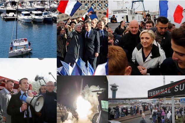 De gauche à droite et de haut en bas : sur le vieux port de Marseille lors du meeting de Jean-Luc Mélenchon le 9 avril; au Trocadéro à Paris lors du meeting de François Fillon le 5 mars; Marine Le Pen au Grau-du-Roi le 27 avril; Emmanuel Macron devant l'usine Whirlpool d'Amiens le 26 avril; tir d'un missile depuis le destroyer «USS Ross» le 7 avril et évacuation de l'aéroport d'Orly le 18 mars.