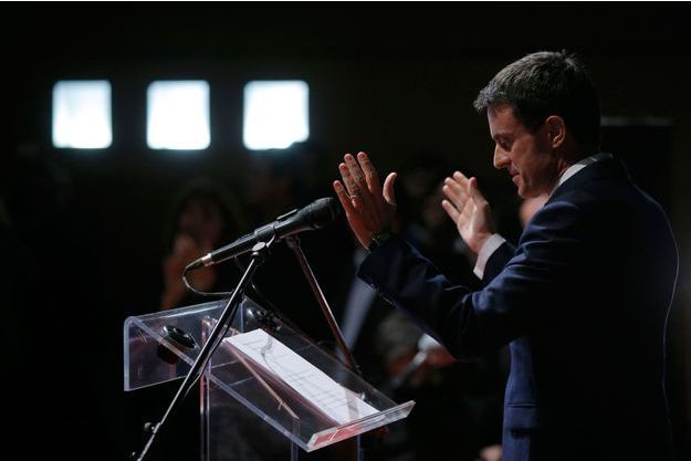 Manuel Valls, mercredi soir en meeting à Audincourt.