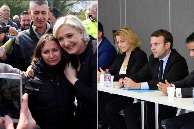 Marine Le Pen et Emmanuel Macron à Amiens mercredi.