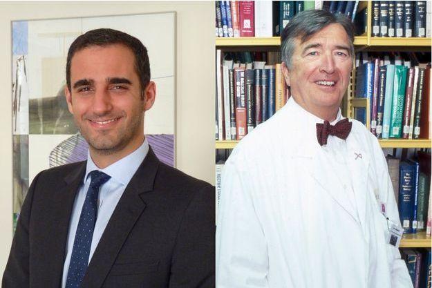 Les Drs Marc-David Benjoar, chirurgien plasticien,  et Marc Spielmann, cancérologue à l'Institut Gustave-Roussy de Villejuif.