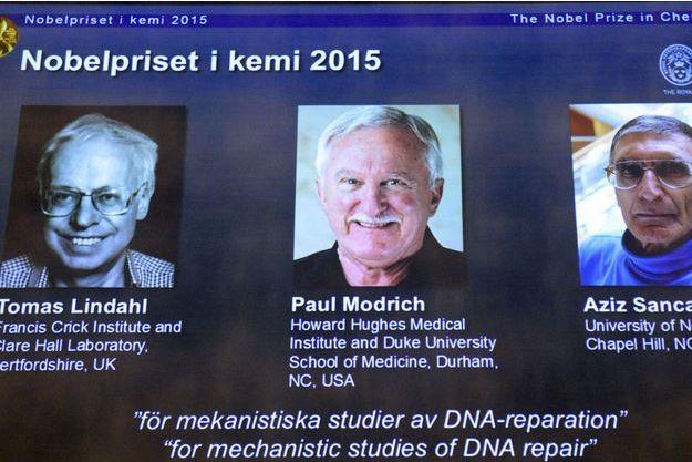 Tomas Lindahl, Paul Modrich et Aziz Sancar