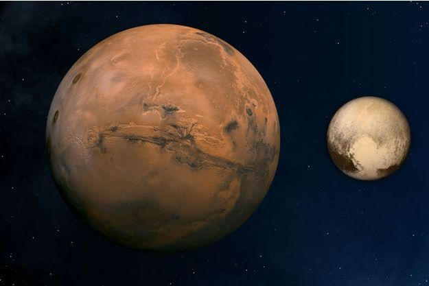 Illustration de la planète Mars à côté de Pluton