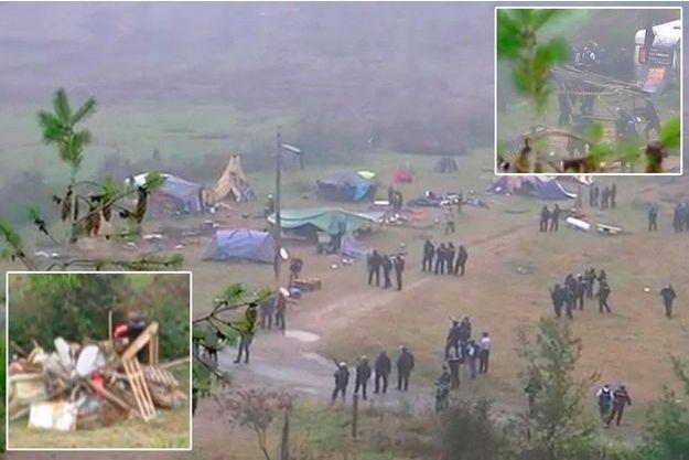 Le démantèlement d'un camp d'opposants au barrage de Sivens filmé en caméra cachée le 29 septembre.
