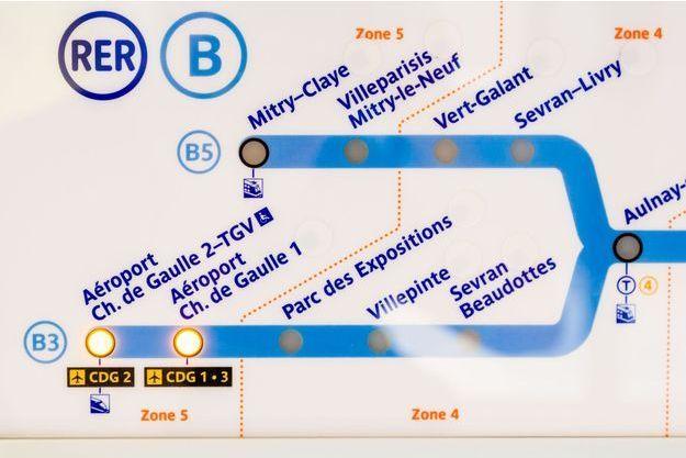 Le plan du RER B.
