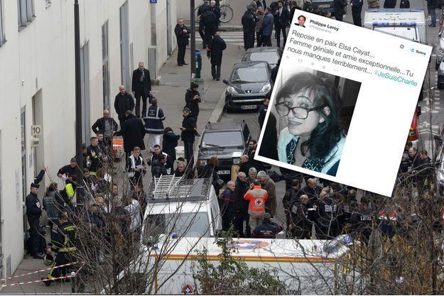 Sur la scène de l'attentat, mercredi. En médaillon : un tweet d'un proche d'Elsa Cayat.
