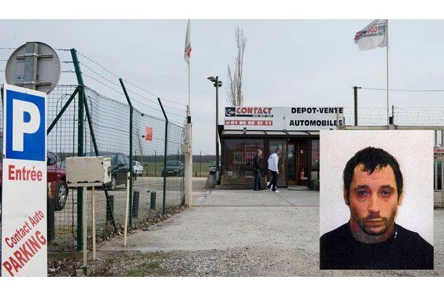 Le dépôt-vente de voitures d'occasion de Dammarie-les-Lys, théâtre de la fusillade. en médaillon : Joseba Fernandez Aspurz, présumé membre d'ETA, arrêté après la fusillade.