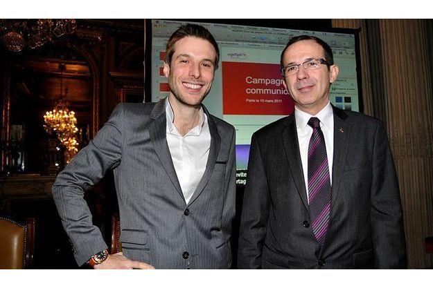 Grégory Cuilleron avec Jean-Marie Faure, président de l'Agefiph.