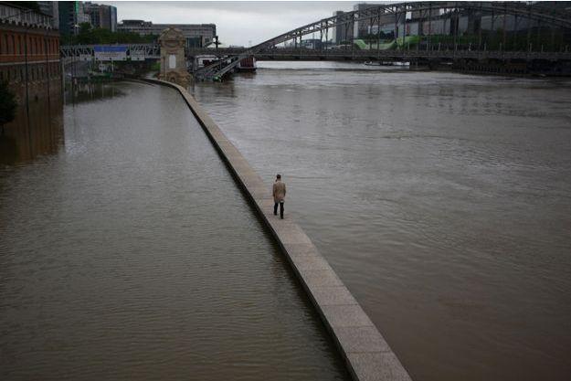 A Paris, promenade en solitaire sur le parapet de la voie rapide, immergée. Vers le viaduc d'Austerlitz, le 3 juin.