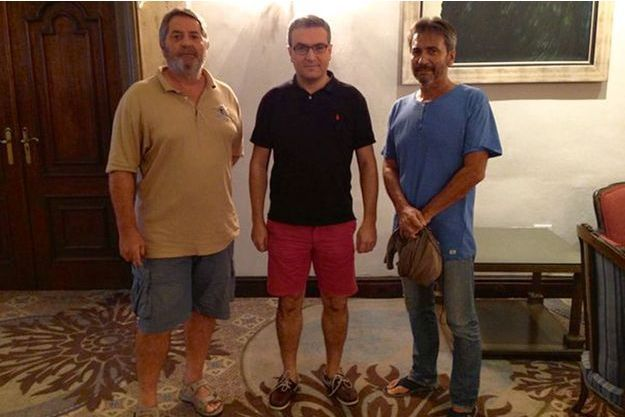 Pascal Fauret, Aymeric Chauprade et Bruno Odos, à l'hôtel El Embajador, le 17octobre au soir, quelques heures avant la fuite.