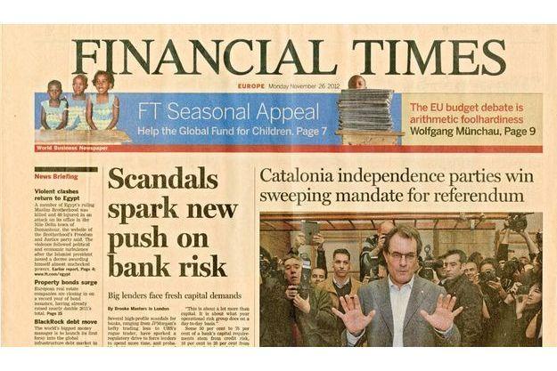 La Une du Financial Times mettant en cause les traders français.