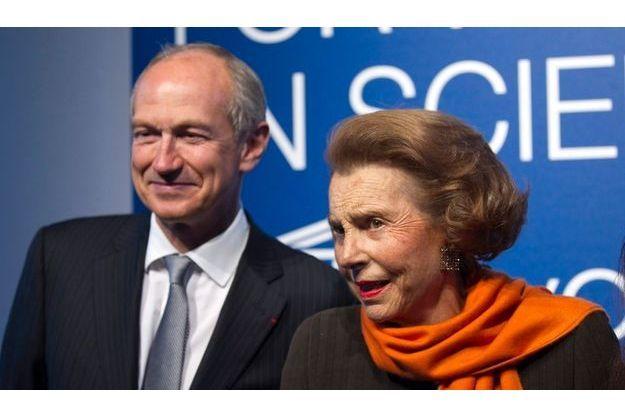 Liliane Bettencourt et Jean-Paul Agon, directeur général de L'Oréal, le 3 mars dernier.