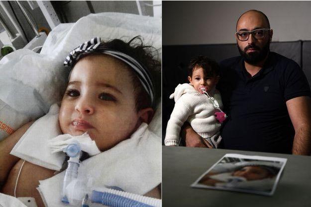 À gauche, Marwa. À droite, son père Mohamed Bouchenafa, tenant dans ses bras sa fille Safa, la soeur jumelle de Marwa.