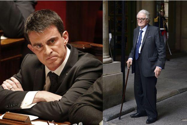 Le Premier ministre Manuel Valls en février 2015 et Roland Dumas en octobre 2014.