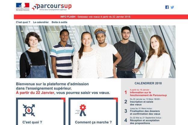 """Page d'accueil de """"Parcoursup"""""""