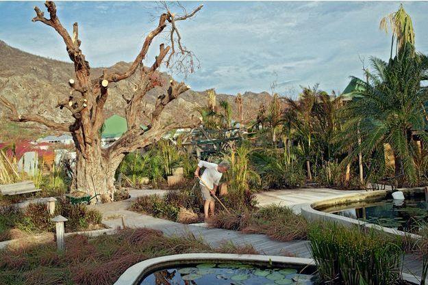 Nettoyage du jardin du Tamarin à Grande Saline
