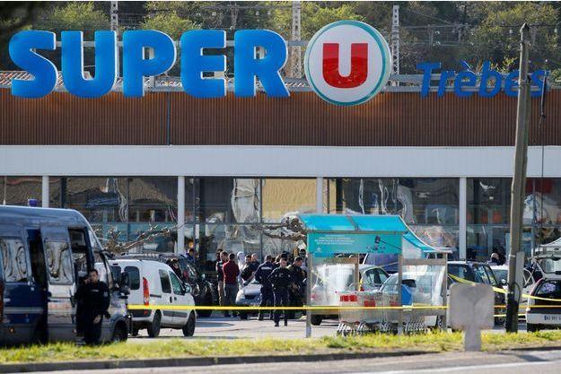 Le Super U de Trèbes (Aude), où s'est déroulée l'attaque terroriste.