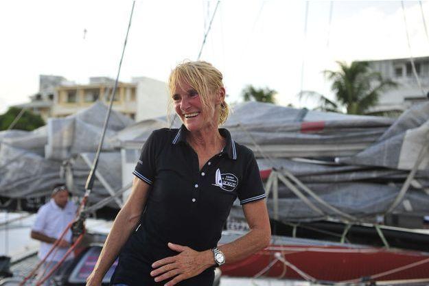 Anne Caseneuve à Pointe-à-Pitre peu après sa victoire dans la Route du Rhum en novembre 2014.