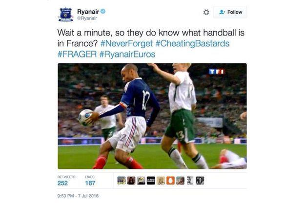 Le tweet de Ryanair, depuis effacé.