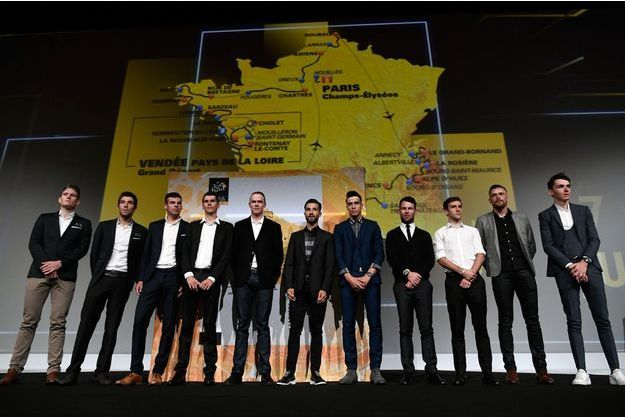 Les héros du Tour lors de la présentation du parcours 2018.