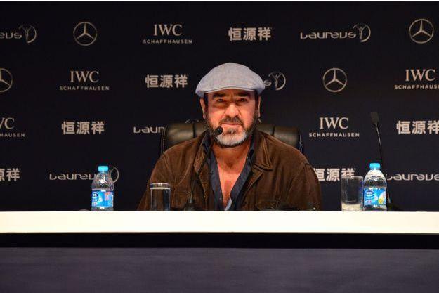 Eric Cantona à Shanghai, lors d'une conférence de presse organisée mardi.