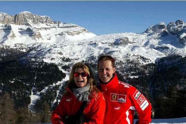 Corinna et Michael Schumacher, les jours heureux en 2005, à Madonna Di Campiglio en Italie.