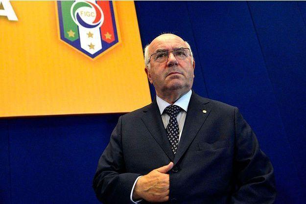 Carlo Tavecchio, le 25 juillet dernier, lors d'une assemblée de la Ligue Amateur de Football à Rome.