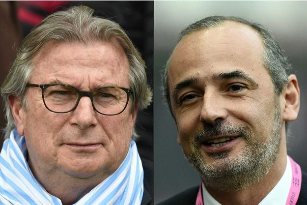 Le patron du Racing 92 Jacky Lorenzetti (à gauche) et le patron du Stade Français (à droite) Thomas Savare.