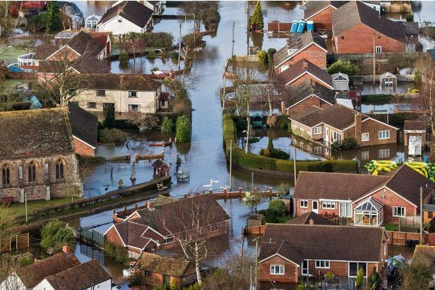 Moorland, tout un village sous l'eau dans le Somerset, le 9 février.
