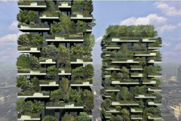 Le maillage des  végétaux permettra de créer de l'humidité. Son objectif est l'absorption du CO2 et la production d'oxygène. En bas, à gauche: il a fallu deux ans d'études aux botanistes italiens pour choisir, planter et installer les premiers arbres sur l'immeuble en construction.