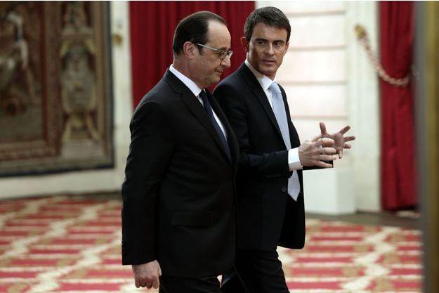 Manuel Valls, ici avec François Hollande après la conférence de presse du Président jeudi.