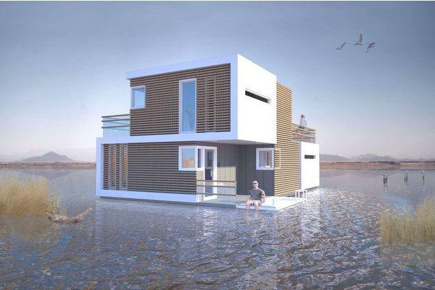La villa flottante, conceptualisée en 3D