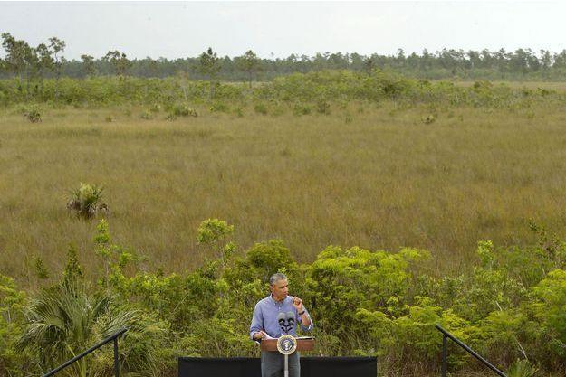 Barack Obama s'exprimait à propos du changement climatique en Floride, en avril dernier.