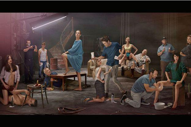 """Photo de groupe pour promouvoir """"Nymphomaniac"""", à gauche on retrouve Lars von Trier, baîlloné."""