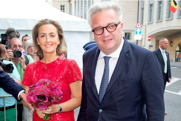 Le prince Laurent de Belgique et la princesse Claire, lors de la fête nationale à Bruxelles.