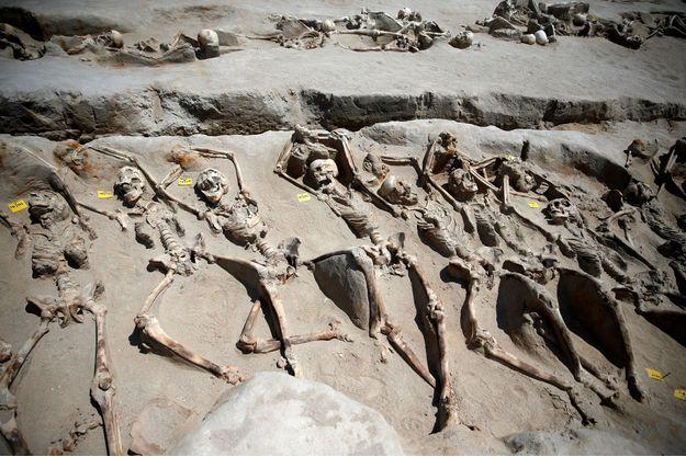 Les squelettes sont disposés en ligne dans la nécropole.