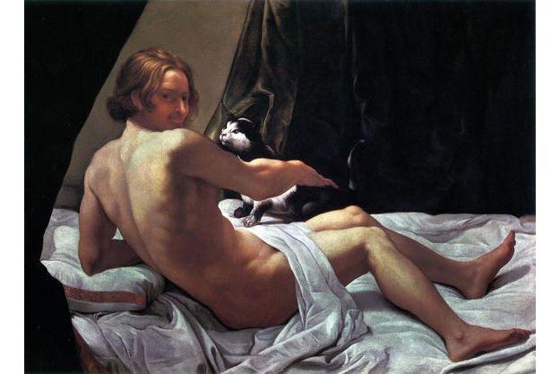 """Giovanni Lanfranco, """"Jeune homme nu sur un lit avec un chat"""", 1620-1622, huile sur toile, 60 cm x 113 cm, Walpole Gallery, London"""
